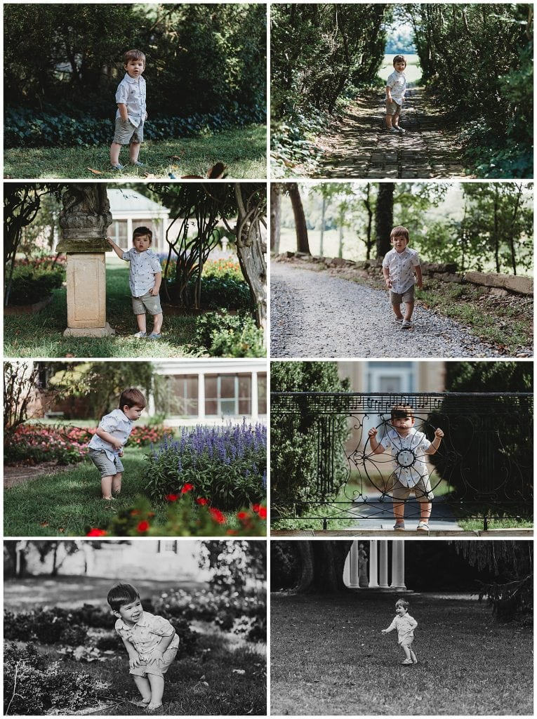 Little boy waling around at Chatham Manor in Fredericksburg VA
